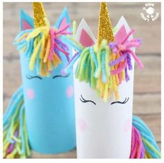 Who can resist unicorns? Don't they capture all things childhood and magical? Here's the most adorable Cardboard Tube Unicorn Craft kids will fall in love with. They're easy to make and their fingerprint rosy cheeks add a lovely personal touch! Unicorn Kids, Unicorn Crafts, Unicorn Party, Unicorn Decor, Unicorn Birthday, Projects For Kids, Diy For Kids, Craft Kids, Crafts With Kids