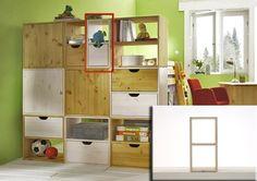 Die kleinen Würfel von Infans, nutzbar als Regal, Raumteiler, Regalwand oder Nachttisch usw., können senkrecht oder waagerecht verwendet werden. Sie sind zum Hinstellen und Aufhängen geeignet.