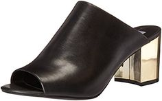 Steve Madden Women's Infinitm Mule, Black Leather, 8 M US >>> For more information, visit image link. (This is an affiliate link) Women's Mules & Clogs, Mules Shoes, Heeled Mules, Gold Heels, On Shoes, Steve Madden, Black Leather, Stuff To Buy, Ebay