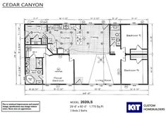 Cedar Canyon LS / 2020-1C built by KIT Custom Homebuilders Small Bungalow, Bungalow House Plans, House Floor Plans, Prefab Homes, Modular Homes, Kerala, Corner Window Treatments, Manufactured Homes Floor Plans, Recessed Can Lights