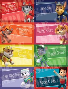 This listing is for 24 Printable Paw Patrol Custom Birthday Table Cards, each foldable tent style card measures 4.25x5.5. The designed area is 4.25x2.75