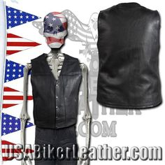 A Mens Classic Motorcycle Club Vest with Concealed Carry Pockets / SKU USA-MV8014-DL