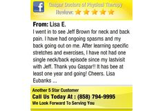 I went in to see Jeff Brown for neck and back pain. I have had ongoing spasms and my back...