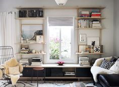 Love shelves that frames window - Michael Woo Custom Woodworking / sfgirlbybay Home Living Room, Living Spaces, Small Living, Apartment Living, Living Area, Home Interior, Interior Design, Custom Shelving, Wall Shelving