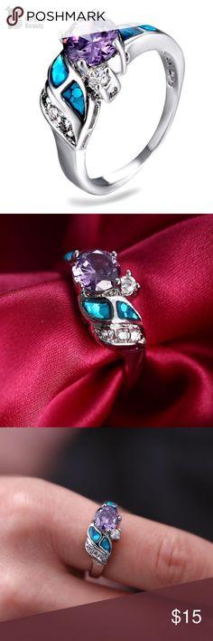 Rhinestone Princess Ring Platinum Fantasy Multicolor Rhinestone Princess Ring Platinum Plated Austrian Crystal SWA Element Silver Rings For Women Jewelry Rings