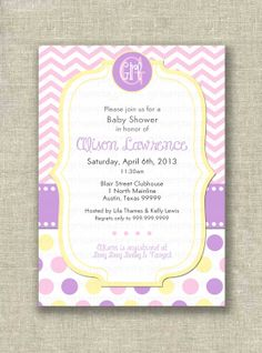 Baby Girl Shower Invitation Invite Modern Chevron by girlsatplay, $12.00