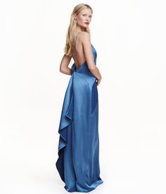 Blue. Long satin dress with narrow shoulder straps. V-neck at front with insert, and low-cut, draped back section. Concealed side zip and slit at one side.