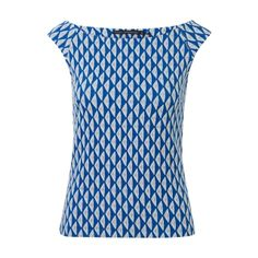 Top met triangel dessin Blauw