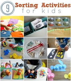 Sorting activities for toddlers and preschool.