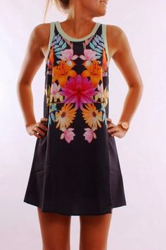 Adorable Jean Jail Flower Print Summer Dress.