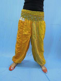 Vintage Silk Sari Harem Comfy Pants  Baggy Loose by Labhanshi, $25.00