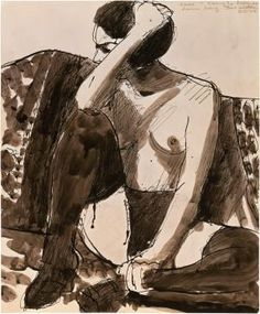 Richard Diebenkorn Untitled ink and wash on paper 17 x 14 in. Richard Diebenkorn, Copic Drawings, Art Drawings, Drawing Portraits, Figure Sketching, Figure Drawing, Paper Drawing, Painting & Drawing, Jackson Pollock