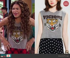 KC's vicious tiger top on KC Undercover.  Outfit Details: http://wornontv.net/44701/ #KCUndercover