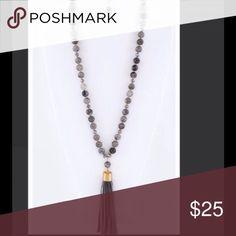 "Blue Precious Stone Necklace w/ Suede Tassel Set Blue Precious Stone Necklace w/ Suede Tassel Set w/ drop earrings. Necklace Length 30"" & earrings 1.25"". C.I.T.Y. Jewelry Necklaces"