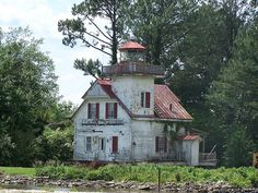 Roanoke River Lighthouse. Taken in Edenton, looks like they may have moved it to land and it's just sitting there.