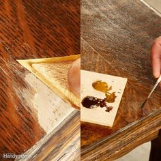 Replace Missing Wood: Finish the Epoxy - After the epoxy hardens completely, which usually takes a few hours, you can sand and stain the repair. Kevin sticks self-adhesive sandpaper to tongue depressors or craft sticks to make precision sanding blocks. You can also use spray adhesive or even plain wood glue to attach the sandpaper. Sand carefully to avoid removing the surrounding finish.Blend the repair into the surrounding veneer by painting on gel stain to match the color and pattern of…