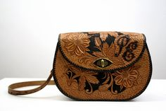 Black and Tan Hand Tooled Leather Vintage 70's Bag by ELOFSON