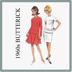 1960s Sewing Pattern - Vintage Butterick 4324 - Misses' Two-Piece Dress - Size 14 Bust 34 Mod Dress - Jewel Neckline - Mod Hip Belt - UNCUT