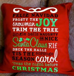 Obsessed with Scrapbooking: Subway Art Christmas Pillow with Cricut Word Collage Cartridge