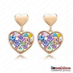 Sweet Romantic Crystal Heart Earrings