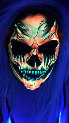UV Blacklight Skull Face Paint -