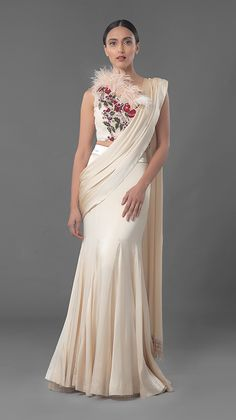 Manish Malhotra Latest Indian Designer Sarees Collection consists of new designs, styles of embroidered fancy, formal & wedding wear saree series Indian Designer Sarees, Indian Designer Outfits, Indian Sarees, Designer Dresses, Saree Gown, Satin Saree, Sari Dress, Sari Blouse, Designer Sarees Collection