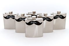 Personalized Chalkboard Mustache Flask by CharlieChalkDesigns. great for groomsman gifts