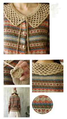 knit sweater with crochet collar