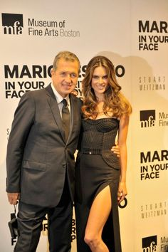 """Mario Testino, and Alessandra Ambrosio at the opening of """"Mario Testino: In Your Face"""" at the Museum of Fine Arts, Boston."""