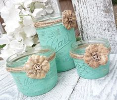 Painted Ball jars ~ These would make cute makeup brush holders!