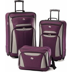 """Travel in style with a functional and attractiveTravel Luggage Set. The 1200 denier polyester construction with reinforced corners provides ultimate protection and durability. Included in thisTravel Luggage Set are a 21"""" and a 25"""" upright bag that feature a large interior compartment with U-zipper mesh lid opening, two front pockets with zipper expansion and tie-down straps for ample storage and organization for clothing and travel accessories. 