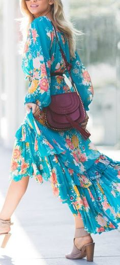 Bright floral high-low dress.