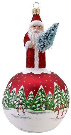 Christmas Ornament - santa claus and snow forest - Christmas - kerstmis - holidays