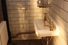 Our #new #Project is almost finished ! This #WetRoom in #TowerHill went under #renovation. We created this #vintage #retro #look with the exposed #copper pipes, #white #metro #tiles and vintage #style #taps. Why not #share your opinion and #ideas with us? #InteriorDesign #StJamesDesign