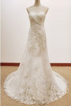 A-Line Sweetheart Lace Wedding Dress (AL008)...Love the lace