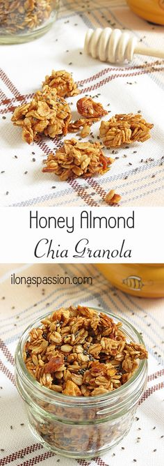 Honey almond chia granola is perfect for breakfast or snack. Healthy, satisfying and delicious chia granola. Delicious Breakfast Recipes, Easy Healthy Breakfast, Brunch Recipes, Snack Recipes, Healthy Recipes, Healthy Desserts, Healthy Meals, Healthy Food, Gluten Free Granola