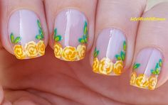 #Yellow #Roses #Frenchmanicure Using Only #Toothpick