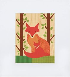 8 x 10 Fox print on wood from Petit Collage. Love everything in this series!