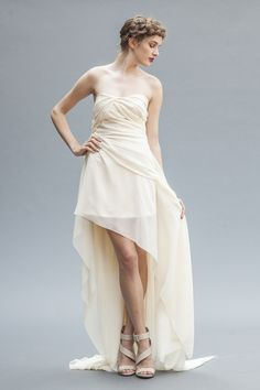 Golden Ivory Wedding Gown Gown Backless Gown by ElikaInLove Short Chiffon Wedding Dress, Tea Length Wedding Dress, One Shoulder Wedding Dress, Wedding Dresses, Bride Look, Boho Bride, High Low Gown, Backless Gown, Elegant Bride