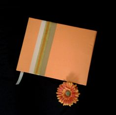 LI_88. Libro para Firmas #bodas 0 #15años Naranja Ivory y Dorado