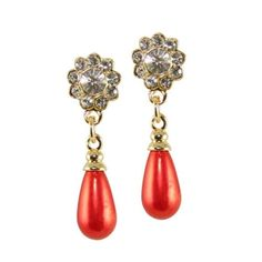 Opera Red Pearl and Crystal Drop Clip On Earrings, £12