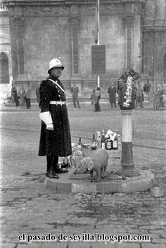Antigua foto del guardia urbano de SEVILLA (con el aguinaldo)