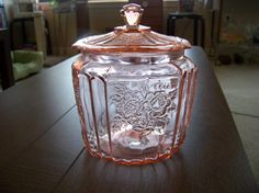Pink Depression Glass - I would love to have one of these for my vanity.