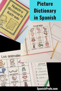 Picture dictionary in Spanish. Great for kids learning Spanish in Elementary school, immersion or bilingual classes. Great visual for writers workshop, centers or vocabulary development in Spanish. diccionario ilustrado para ninos.