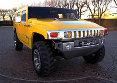 Hummer SUV Concept The is the second vehicle sold under the Hummer marque of General Motors. It is a large SUV (though smaller than the Hummer. Hummer Truck, Hummer H2, Big Yellow, Yellow Car, Used Engines For Sale, Hummer H1 Alpha, Hammer Car, Utility Truck, Large Suv