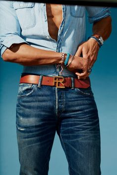 Belt, $250, by Ralph Lauren Shirt and jeans, Ralph Lauren Woven bracelets, Burkman Bros Other bracelets, Tiffany & Co. (left, white gold) George Frost (top right, silver) Watch, Georg Jensen Rings, from top Degs & Sal; David Yurman