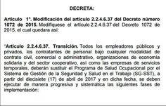 SGSST | Decreto que amplía el plazo del SGSST al mes de Abril. 2017