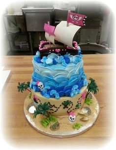 Girl's Pirate themed stacked cake in buttercream!