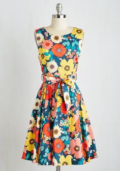 Hour by Flower Floral Dress in Retro Blossom, #ModCloth
