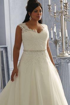 V-Ausschnitt Satin A-Linie Spitze Plusgröße volle länge aufgeblähtes Brautkleider